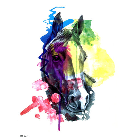 OnDecal Colorful Horse Head Temporary Tattoo