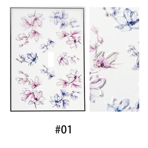 OnDecal 3D Acrylic Engraved Flower Nail Decals