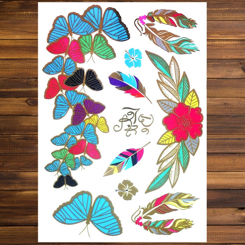 OnDecal Butterfly Flower Temporary Tattoo