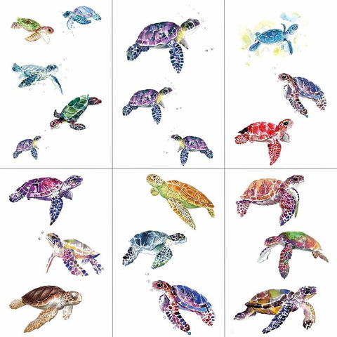 OnDecal Colorful Sea Turtles Temporary Tattoos