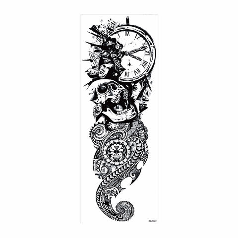 OnDecal Clock Skull Sleeve Temporary Tattoo