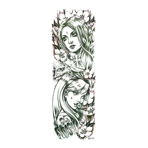 OnDecal Flower Girls Vintage Design Temporary Tattoo Sleeve