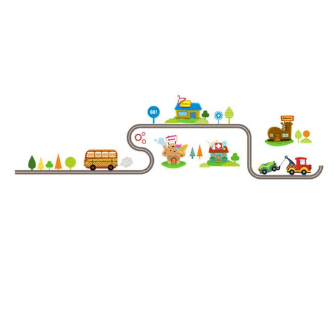 OnDecal Cartoon Cars Highway Track Wall Decals