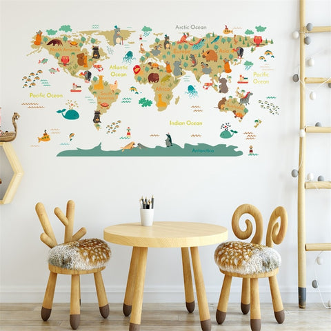OnDecal Cartoon Animal World Map