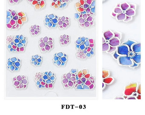 OnDecal 5D Embossed Floral Nail Decals