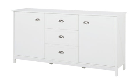 Country - Sideboard with 2 doors and 3 drawers, white lacquered, metal handles, country style - Designs By Phoenix - Furniture - 1