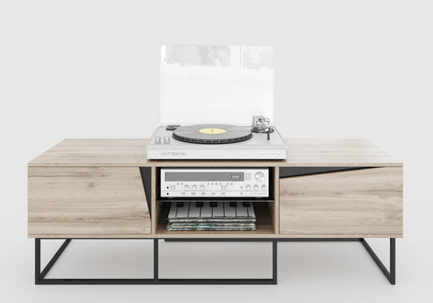 Carv - Lowboard mit 2 Türen und 2 offenen Fächern, Push-Open-Beschläge, Wild Oak Holzdecor, Metallsockel, modernes Industrial-Design - einrichten-24, Kommoden & Sideboards