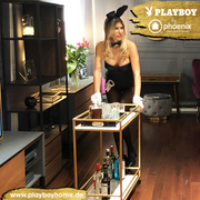 "PLAYBOY - Servierwagen ""GINGER"" mit 2 Ablagen in Marmor-Optik, goldenes Metallgestell, mit Rollen, Retro-Design,Regale & Raumteiler - playboy"