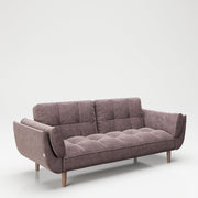 "PLAYBOY - Sofa ""SCARLETT"" gepolsterte Couch mit Bettfunktion, Samtstoff in Rosa mit Massivholzfüsse, Retro-Design,Sofas & Ottomane - playboy"