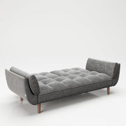 "PLAYBOY - Sofa ""SCARLETT"" gepolsterte Couch mit Bettfunktion, Samtstoff in Grau mit Massivholzfüsse, Retro-Design,Sofas & Ottomane - playboy"