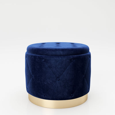 "PLAYBOY - Pouf ""LIZ"" gepolsterter Sitzhocker mit Stauraum, Samtstoff in Blau und Chesterfield-Optik, goldener Metallfuss, Retro-Design,Sessel & Sitzhocker - playboy"