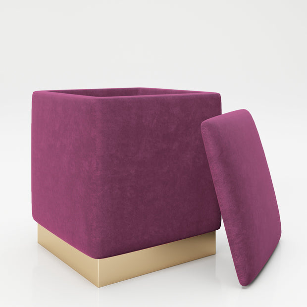 "PLAYBOY - eckiger Pouf ""BETTY"" gepolsterter Sitzhocker mit Stauraum, Samtstoff in Lila, goldener Metallfuss, Retro-Design,Sessel & Sitzhocker - playboy"