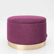 "PLAYBOY - runder Pouf ""SUE"" gepolsterter Sitzhocker mit Stauraum, Samtstoff in Lila, goldener Metallfuss, Retro-Design,Sessel & Sitzhocker - playboy"