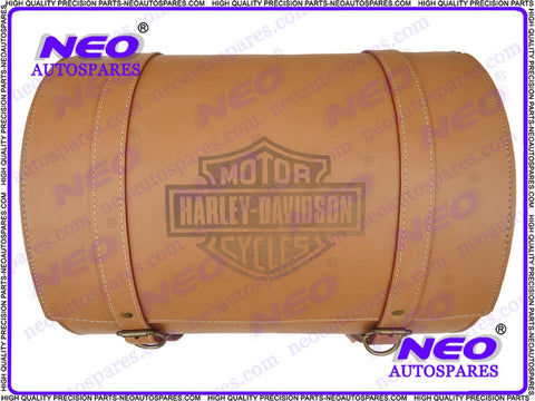 Tan Leather Rear Travel Carry Saddle Bag For XXXL Custom Made Motorcycle