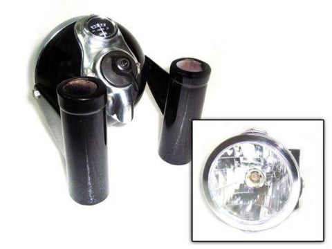 Brand New  Black Painted Headlight + Brackets Fits Royal Enfield available at Online at Royal Spares