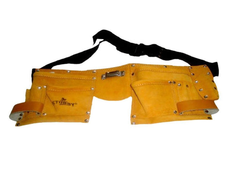 New Split Leather Economy Work Tool Bag 10 Pocket Double Stitched Adjustable Belt (Auction Deal)