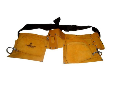 New Large Capacity Split Leather Carpenter Tool Bag 10 Pocket Double Stitched Belt (Auction Deal)