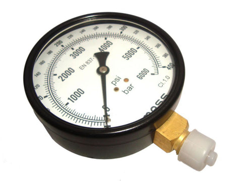 "Pressure Gauge - Dual Scale 0 - 400 Bar & 0 - 6000 Psi - 3/8"" Bsp - 100 Mm Dial available at Online at Royal Spares"