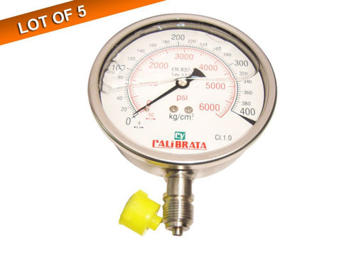 5x Pressure Gauge Glycerin Filled, Dual Scale 0-400 Bar & 0-6000 psi, 100mm Dial available at Online at Royal Spares