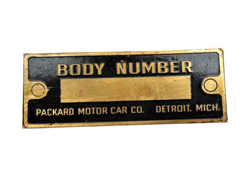 BODY Number Brass Data Plate/ VIN Plate - Vintage Packard Cars