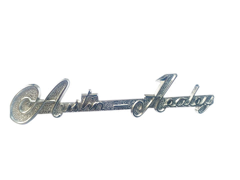 Brand New Chrome Austin Healey BN1 to BJ8 Script Boot Badge, AH part 8G705
