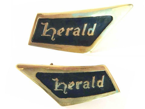 Pair of Black-Brass Roof Pillar Badge Triumph Herald Emblem REPRO 1961-71