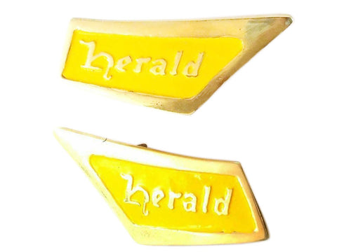 Pair of Triumph Herald Yellow-Brass Roof Pillar Badge Emblem REPRO 1961-71