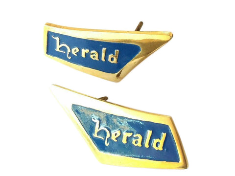 Pair of Triumph Herald Blue-Brass Roof Pillar Badge Emblem REPRO 1961-71