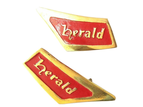 Pair of Triumph Herald Red-Brass Roof Pillar Badge Emblem REPRO 1961-71