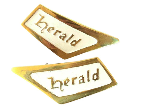 Pair Of Triumph Herald White-Brass Roof Pillar Badge Emblem REPRO 1961-71