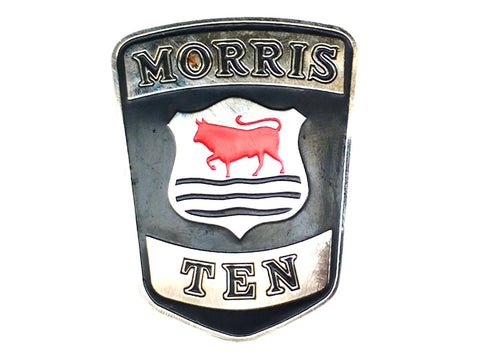 Vintage Morris Ten Car Radiator Grille Chrome Enamel Badge Emblem Decal