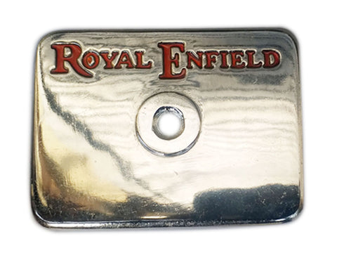 Brand New Customized Chrome Tappet Cover With Red Royal Enfield Logo