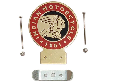 Indian Motorcycle Since 1901 Heavy Brass Shine Enamel Front Badge & Fixing