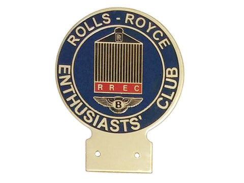 RREC Rolls Royce Enthusiasts Car Club Brass Enamel Front Grill Badge Decal
