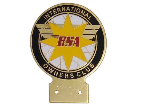 Vintage BSA International Bike Owners Club Heavy Brass Enamel Front Badge Decal