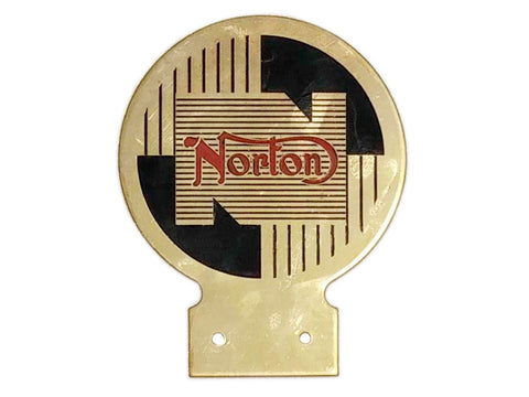Brand New Norton Heavy Brass Enamel Front Badge - Vintage Norton Motorcycle