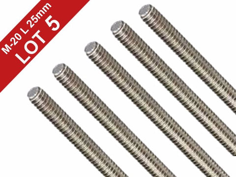 Stainless Steel 304 Fully Lot of 5 Pieces A2 Threaded Rod/Bar/Studs -M20 x 25mm