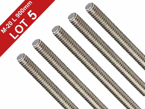 Stainless Steel 304 Fully Lot of 5 Pieces A2 Threaded Rod/Bar/Studs -M20 x 36""