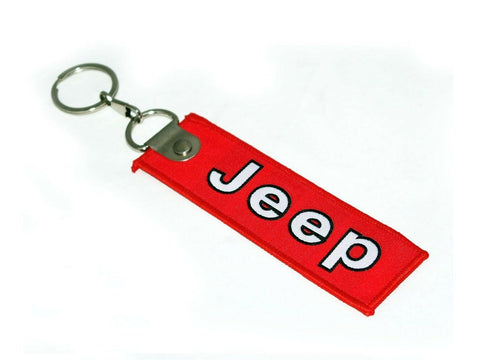 Double Sided Cloth Jeep Design Keychain Key Ring Red For Jeep Cars