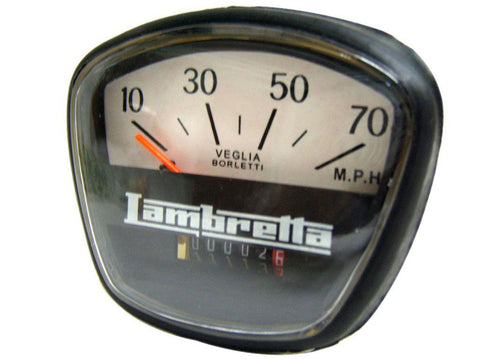 Brand New 70 MPH Speedometer Fits SX, Li, TV, Special Models of Lambretta available at Royal Spares
