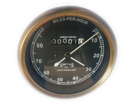 Speedometer Brass Bezel Smiths 10-120 KMPH Black Face Made in England - Vintage Motorcycle