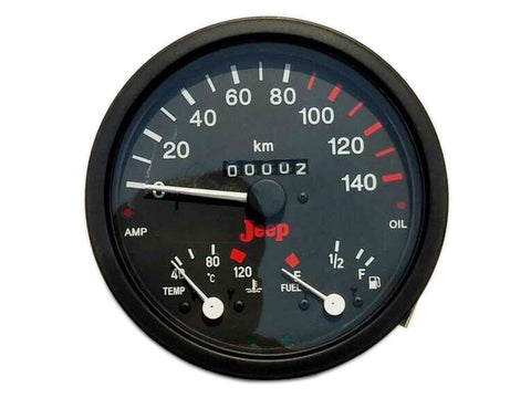 Willys Jeep Speedometer Black Face Cum Temperature Fuel Meter & Amp. Oil Indicator