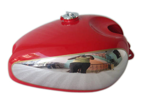 Panther M100 M120 Chrome & Red Painted Gas Fuel Petrol Tank With Cap