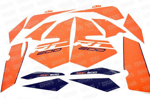 Brand New Graphics Stickers For Ktm Rc 200 (2017) White