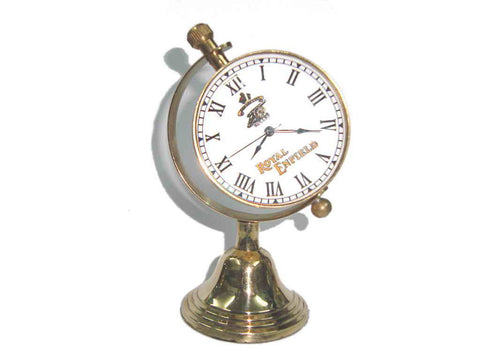 New Quality Rare Enfield Brass Globe Shaped Desk Clock Cannon Logo