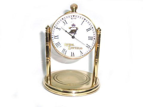 New Quality Solid Brass Desk Clock On Robert Stand  Royal Enfield