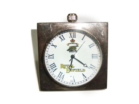 Brand New Quality Unique Brass Desk Clock In Chrome Finish Royal Enfield