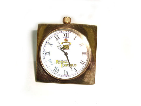 Brand New Quality Golden Finish Antique -Pure Brass Desk Clock - Royal Enfield