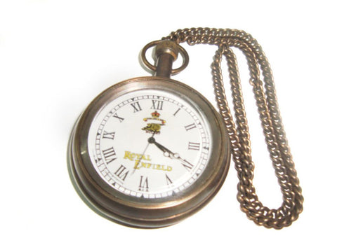 New Brass Pocket Watch With Chain Antique Finish Royal Enfield Motorcycle