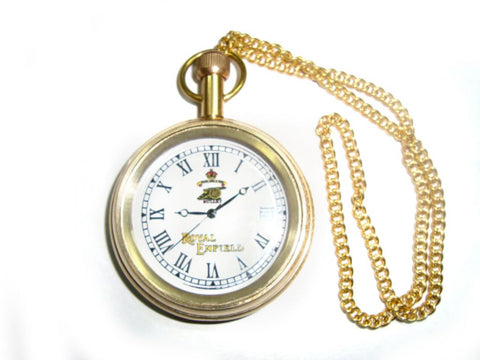 Brand New Quality Golden Brass Pocket Watch With Chain Royal Enfield